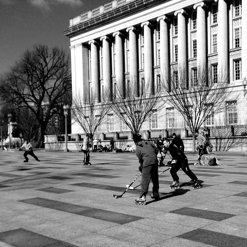 Street hockey games on Pennsylvania Ave outside the White House in Washington DC