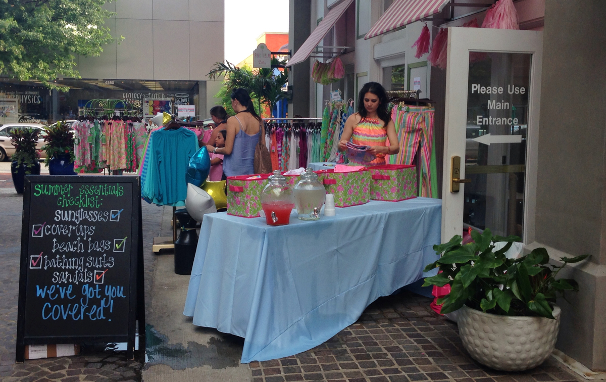Summer afternoon shopping on Bethesda Lane in Bethesda, Maryland
