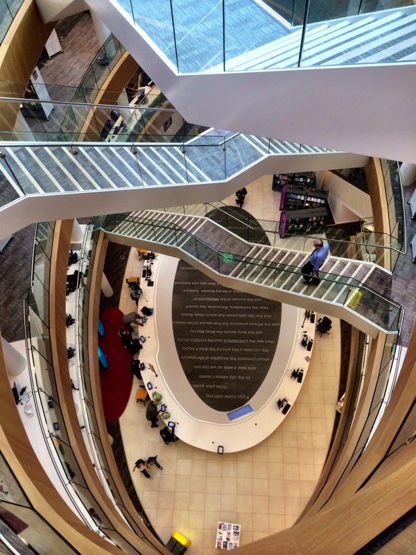 Looking down from the top of the stairs inside the new Central Library in Liverpool, England
