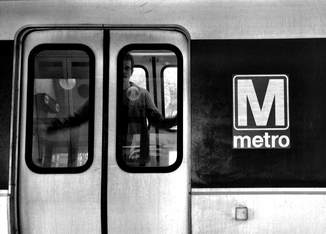 Passenger about to exit a metro train in Washington DC