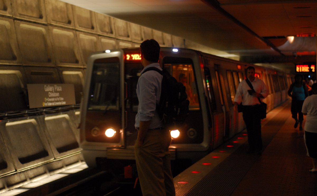 Yellow Line Metro train arriving at Gallery Place Metro Station in Washington DC