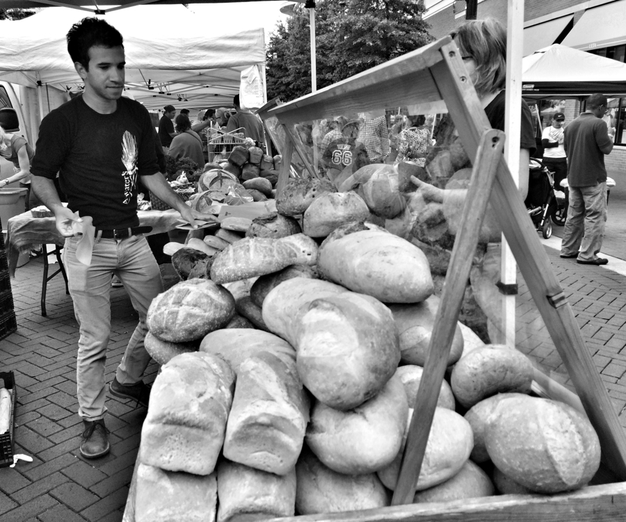Bread stall at the Farmers Market in Silver Spring, Maryland