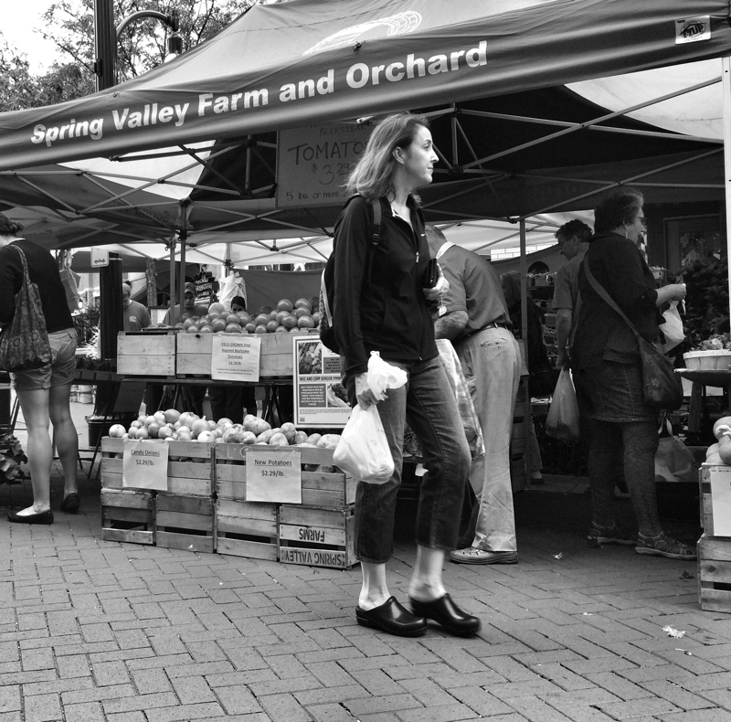 Woman shopping for food at the Saturday Morning farmers market in Silver Spring, Maryland