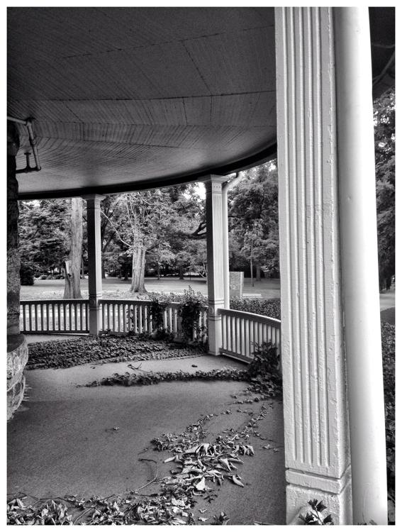 Leaves on the veranda of Warner Circle Mansion in Kensington, Maryland