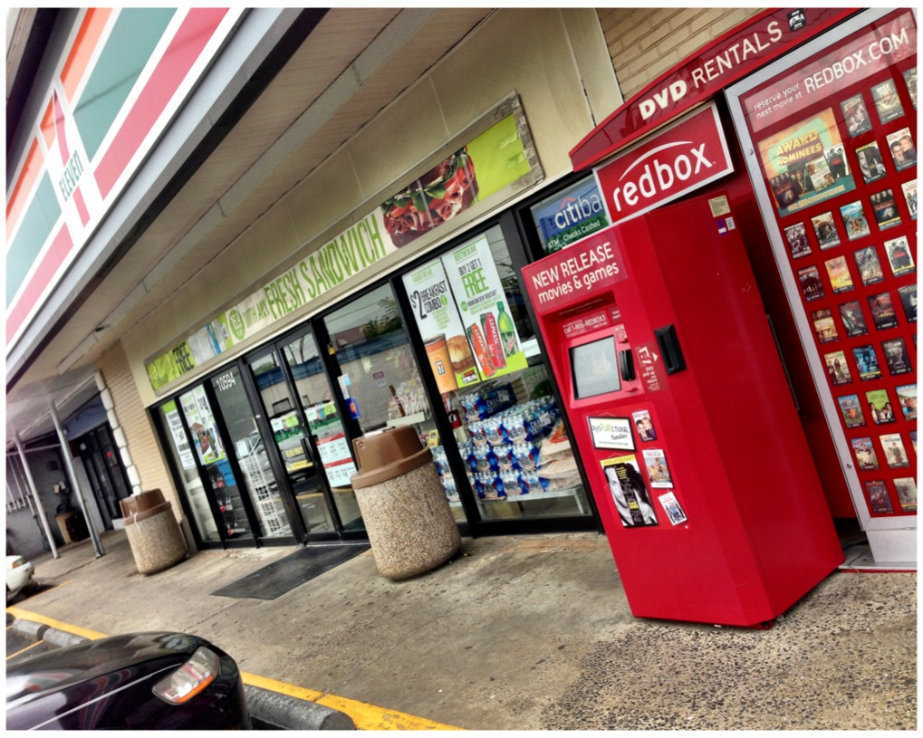 Redbox kiosk outside of the 7-11 in Kensington, Maryland