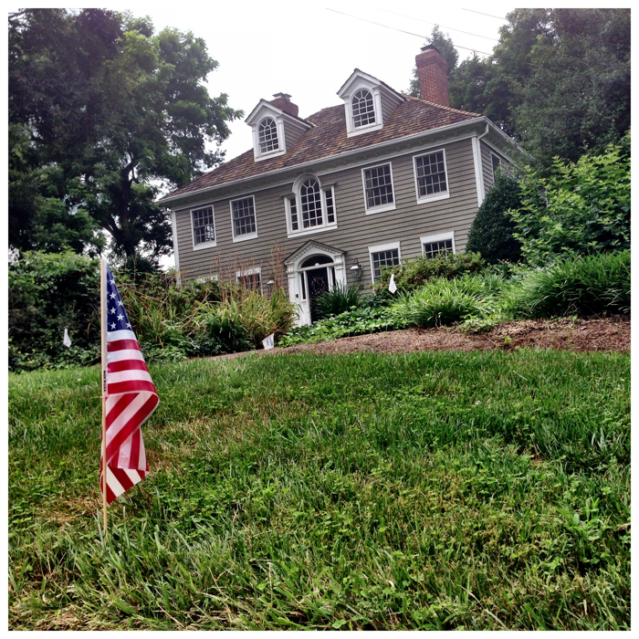US flag outside a house on Prospect Street in Kenington, Maryland