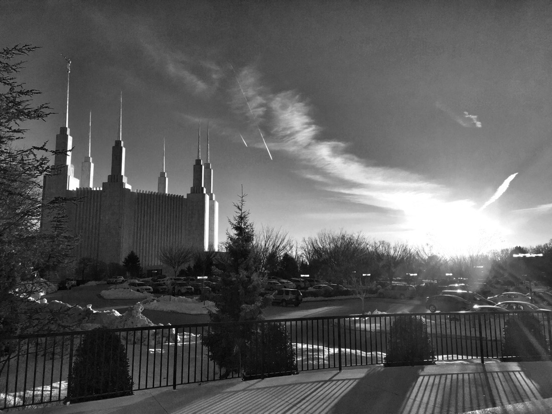 sunset and snow at the mormon temple in washington dc