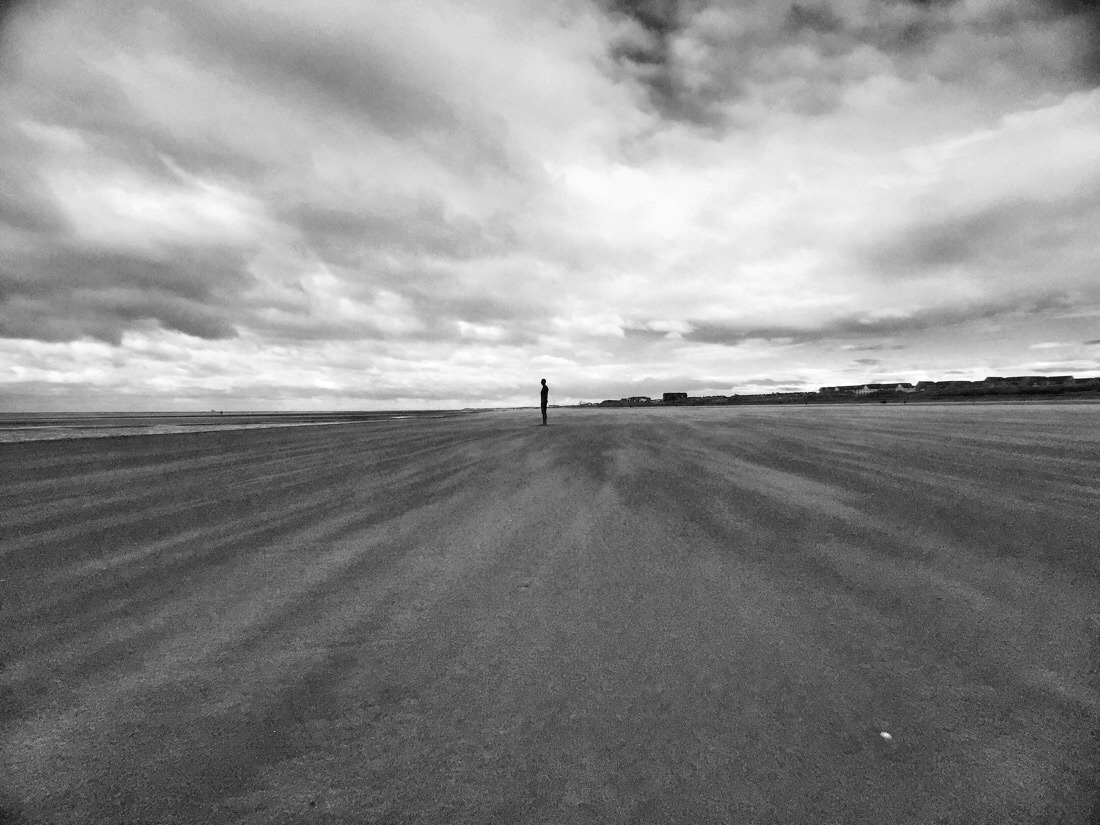 Windswept morning on Crosby beach in Liverpool, U.K.