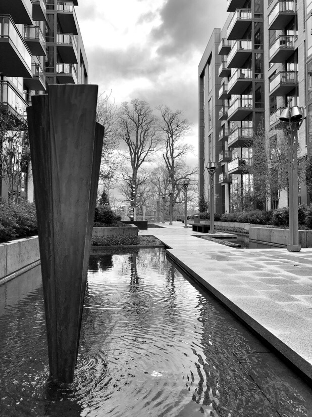 The quiet courtyard at the Flats 8300 in Bethesda, Maryland