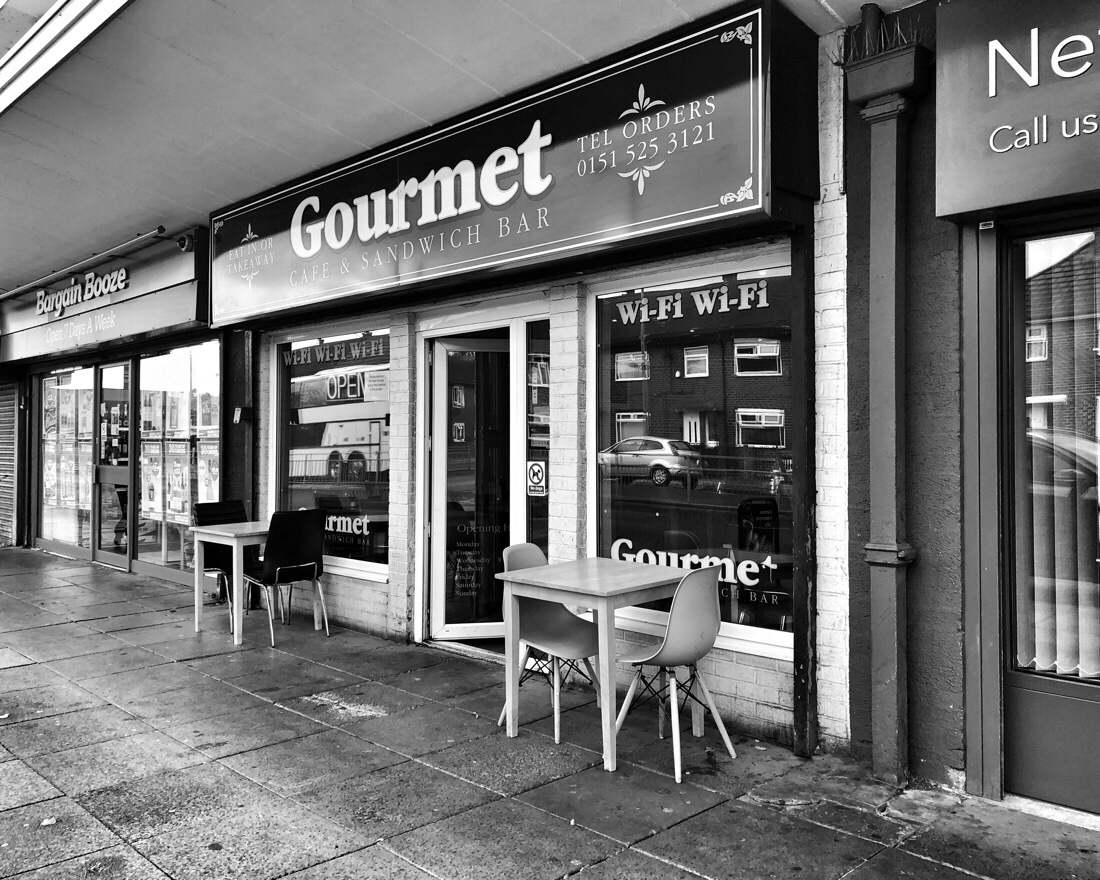 Gourmet Cafe store front in the Marion square in Netherton, Merseyside