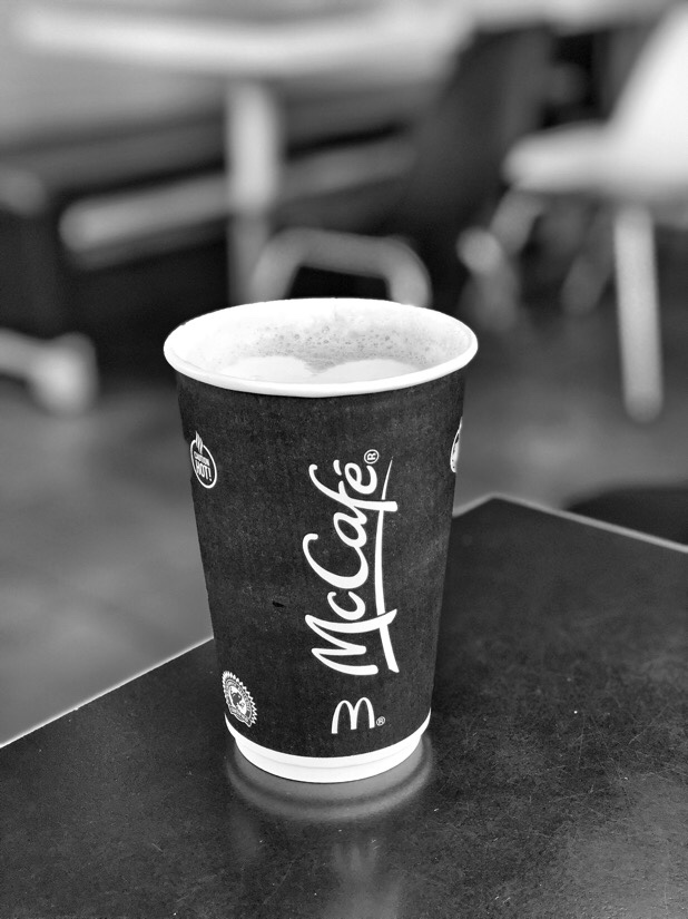 A latte and a little web surfing at the Switch Island McDonalds in Liverpool.