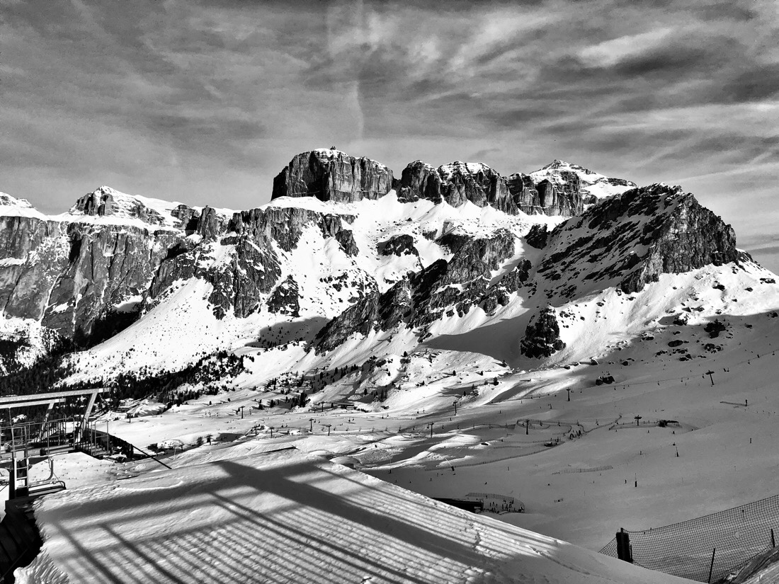 The view from the Col dei Rossi and Pecol areas in the Dolomite mountains in Italy.