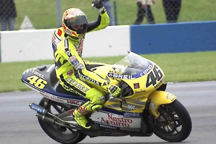 Rossi nel giorno della sua prima vittoria, con la sua Honda