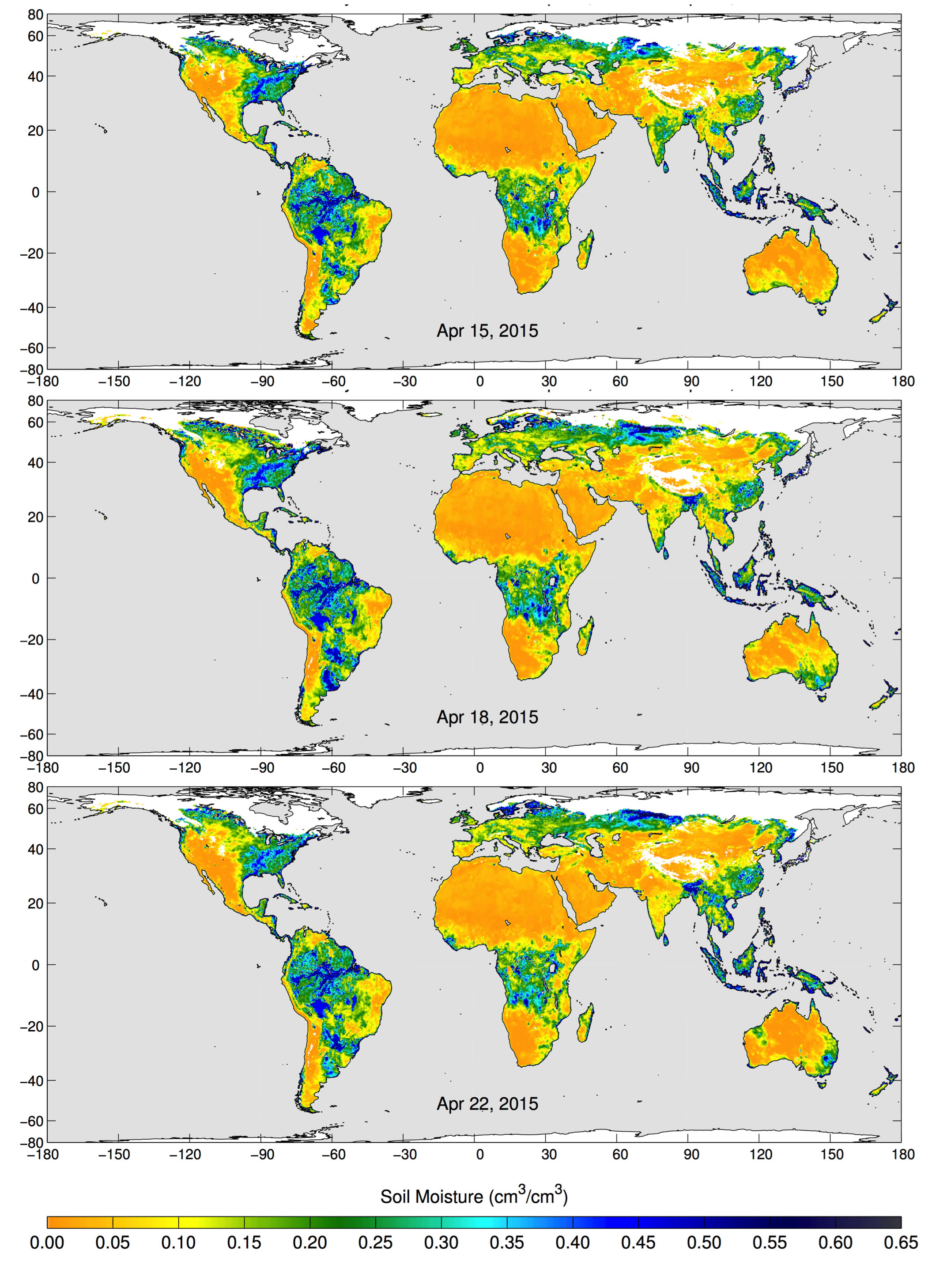 These maps of global soil moisture were created using data from the radiometer instrument on NASA's Soil Moisture Active Passive (SMAP) observatory. Each image is a composite of three days of SMAP radiometer data, centered on April 15, 18 and 22, 2015. The images show the volumetric water content in the top 2 inches (5 centimeters) of soil. Wetter areas are blue and drier areas are yellow. White areas indicate snow, ice or frozen ground.