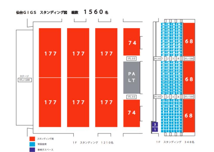 仙台ギグスの座席表とキャパは?
