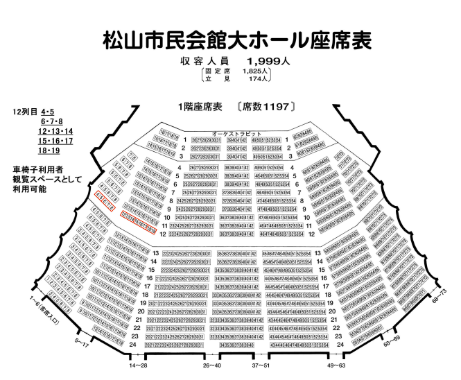 松山市民会館大ホールの座席表とキャパは?