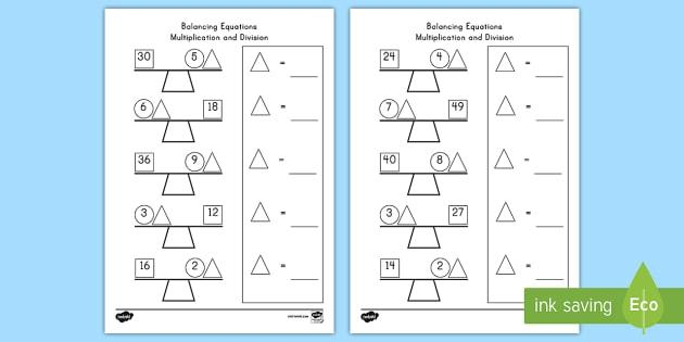 Interpreting Multiplication Equations Worksheets