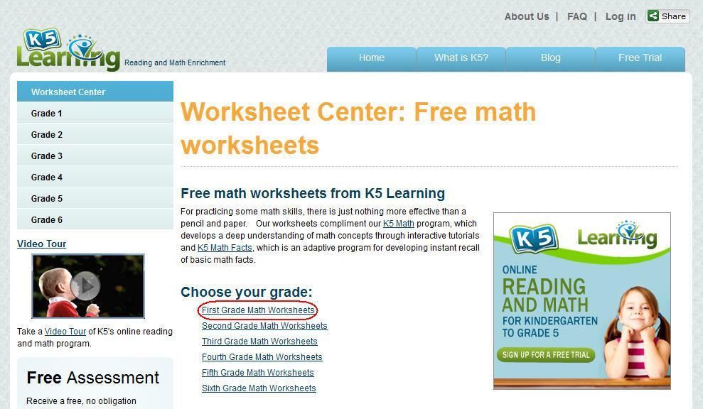 K5 Learning Math Worksheets