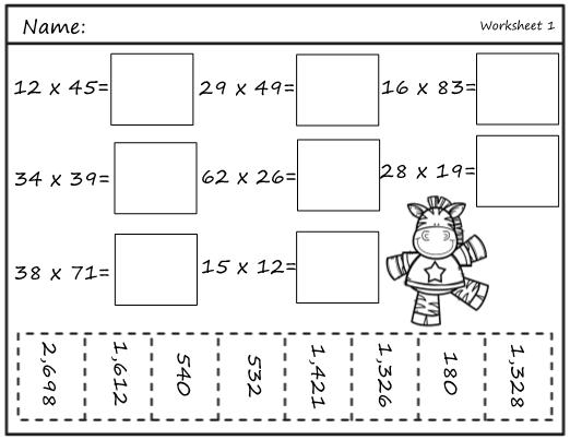 Math Worksheets Multiplication Double Digits