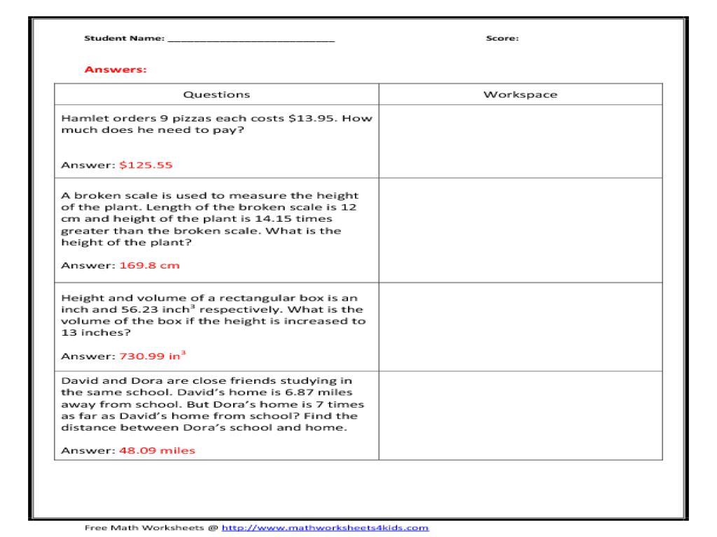 Multiplication Decimals Worksheets Pdf