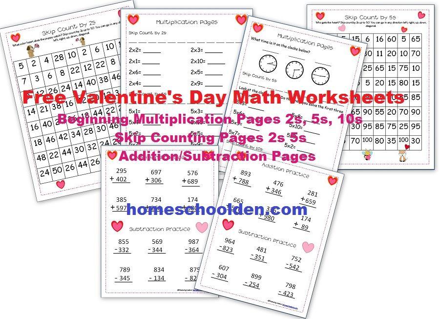 Multiplication Coloring Worksheets Valentine's