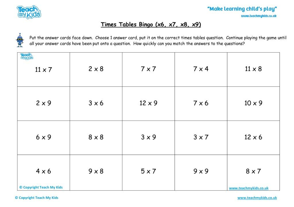 Multiplication Worksheets X6 8