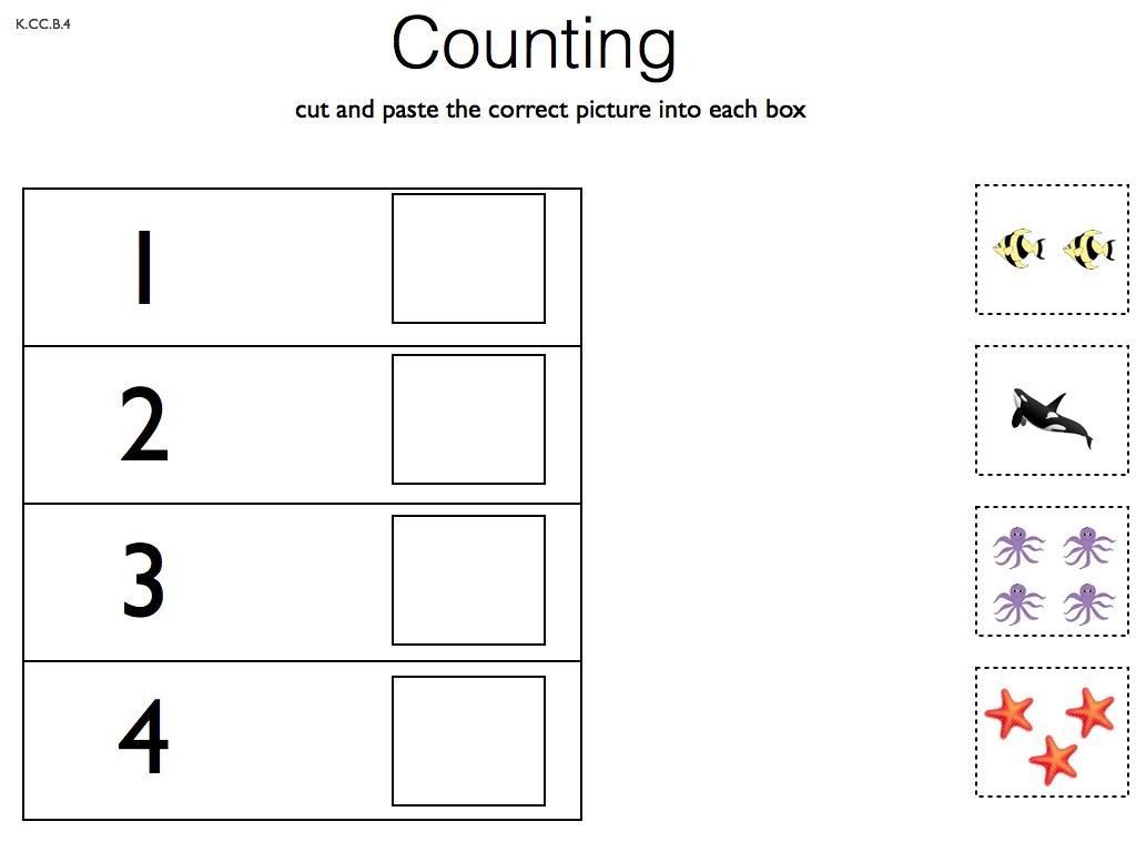 Preschool Number Cut And Paste Worksheets