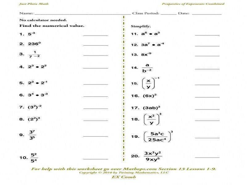 8th Grade Math Worksheets Exponents