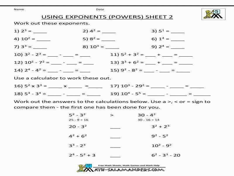 Math Worksheet Exponents Grade 9
