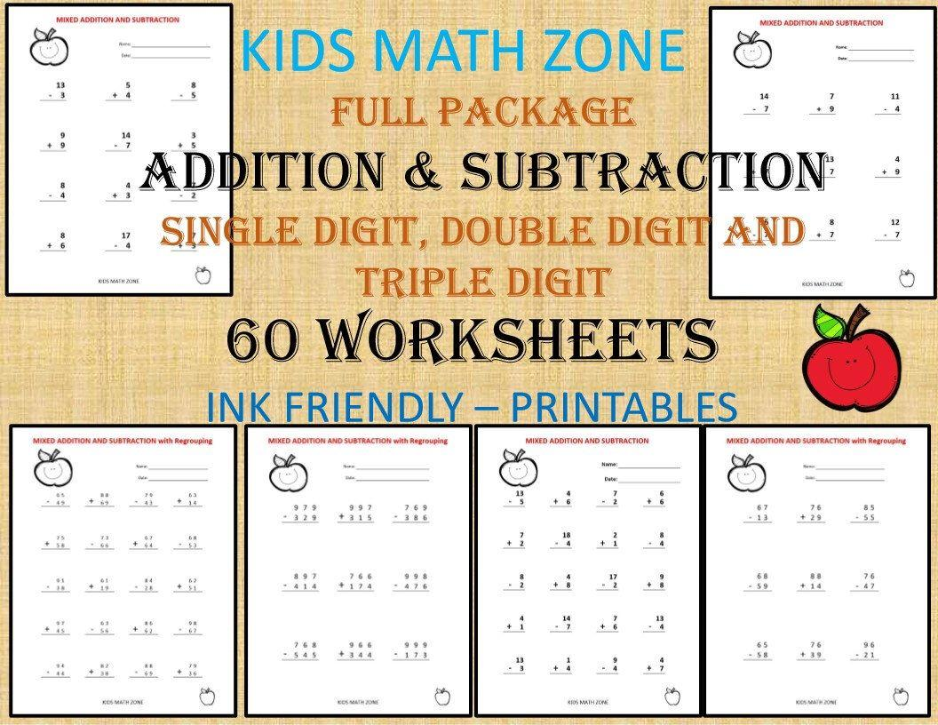 Math Worksheets Addition And Subtraction 3rd Grade