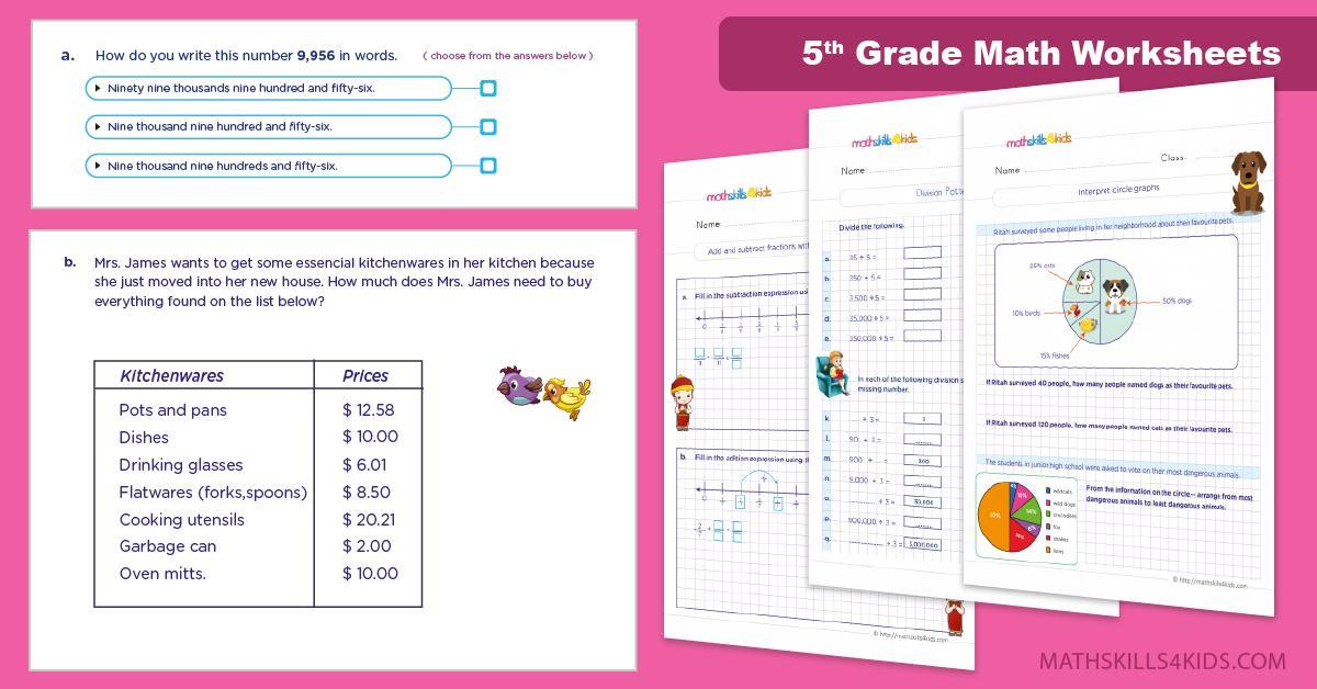 Math Worksheets For Class 5 Cbse
