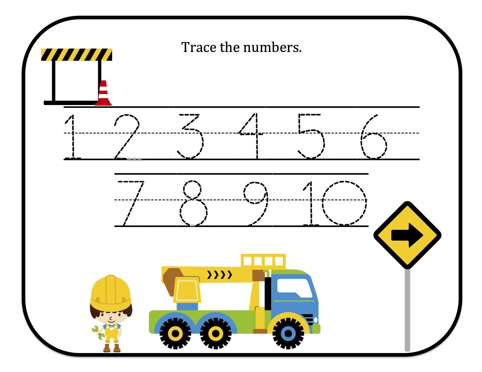 Preschool Number Tracing Worksheets 1-5