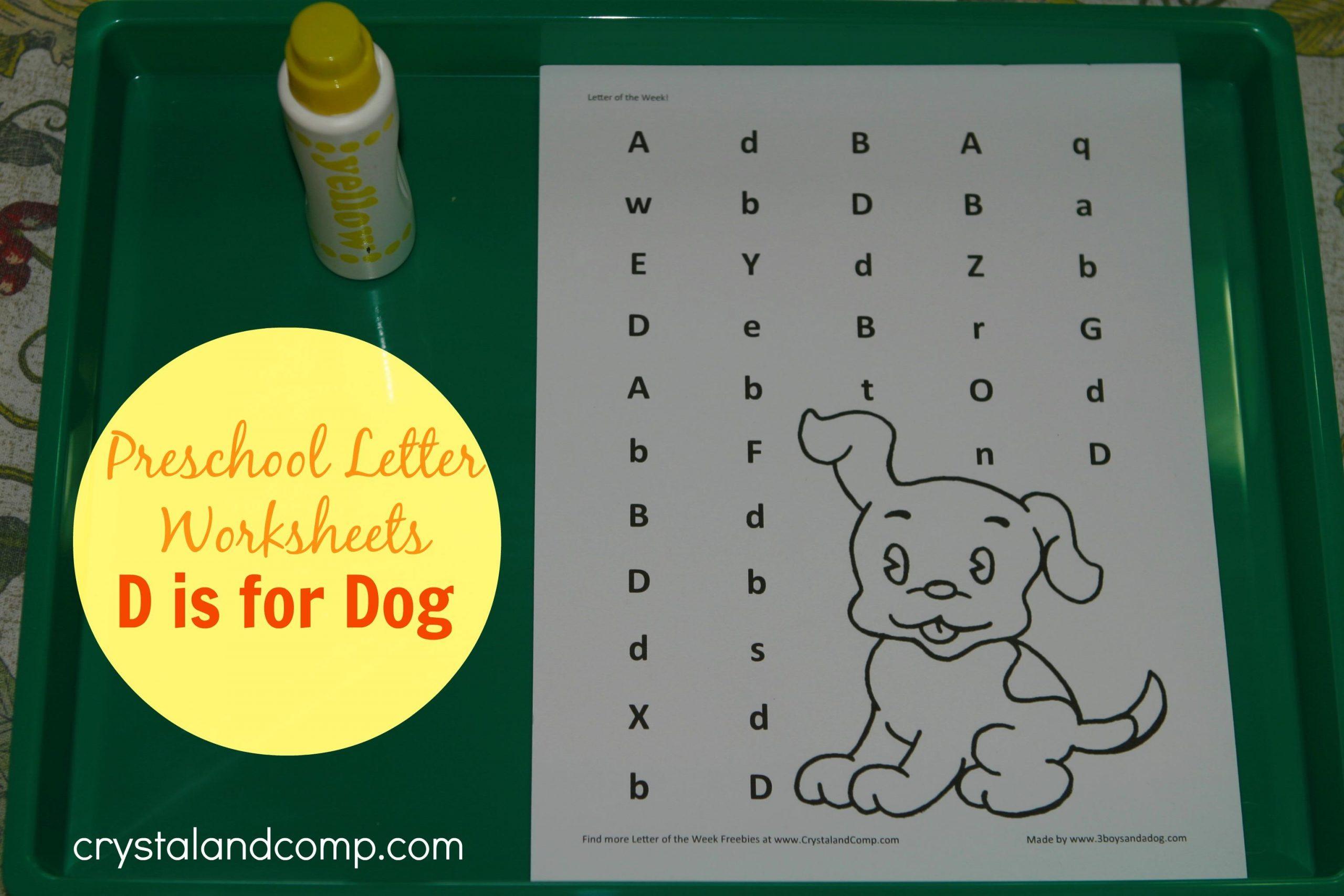 Preschool Worksheet For Letter D
