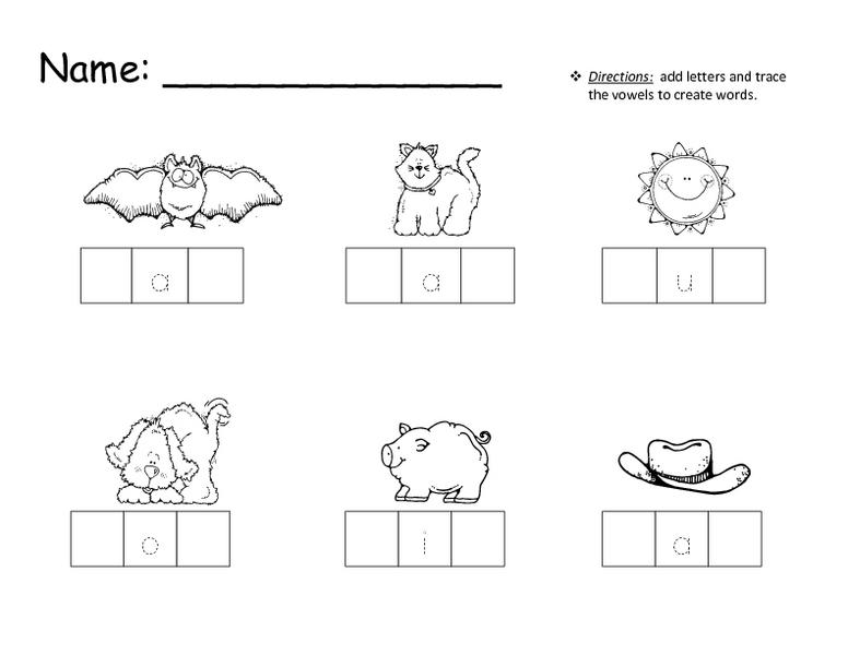 Preschool Worksheets With 3- Letter Words 3