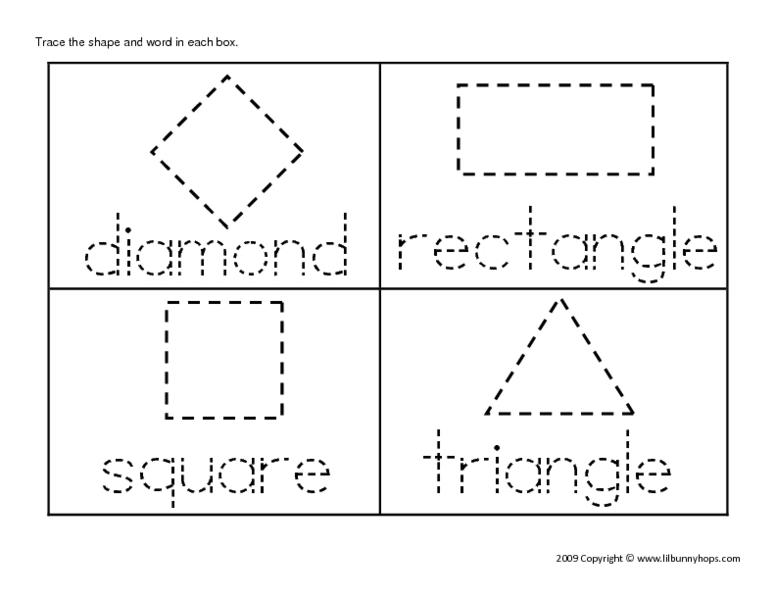 Tracing Shapes Worksheets For Preschool