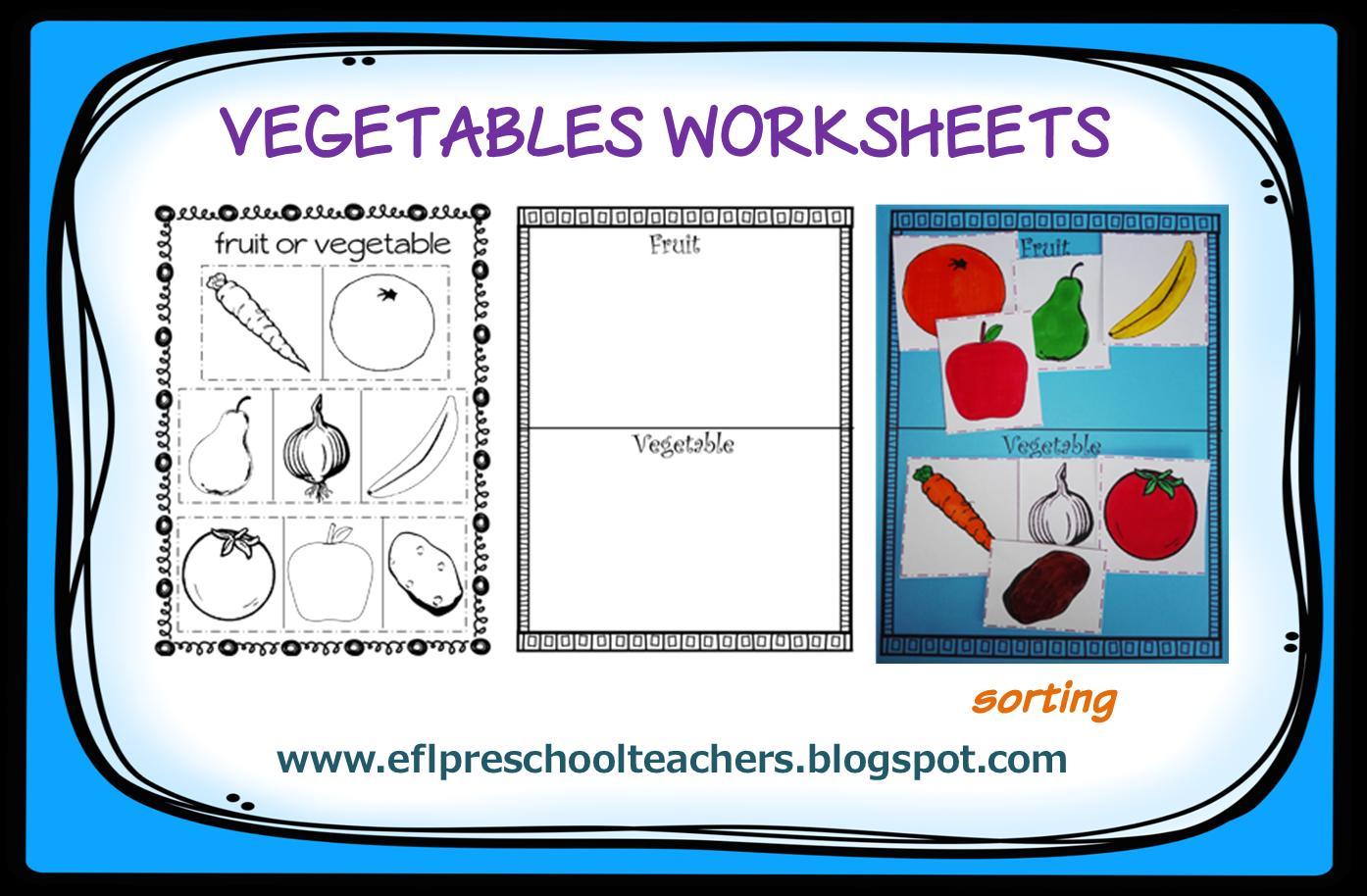 Vegetable Worksheet For Nursery Class