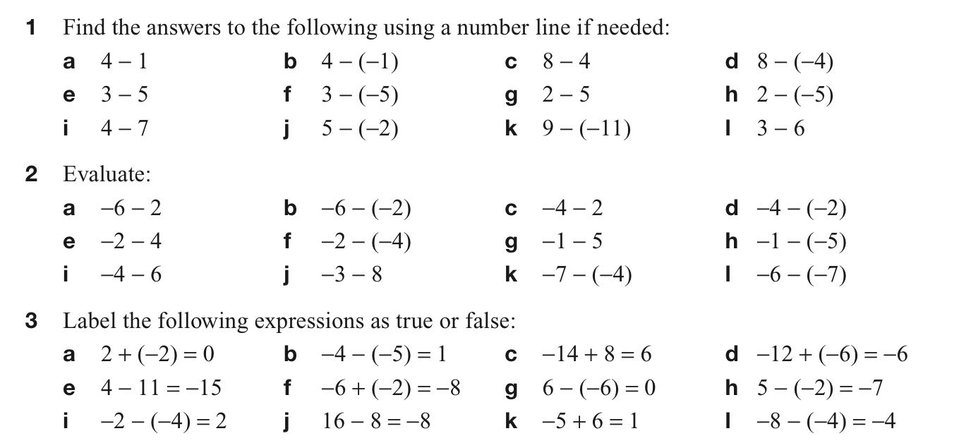 5th Grade Math Worksheets Positive And Negative Numbers