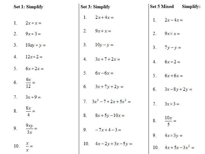 Algebra Worksheets Year 7 Free