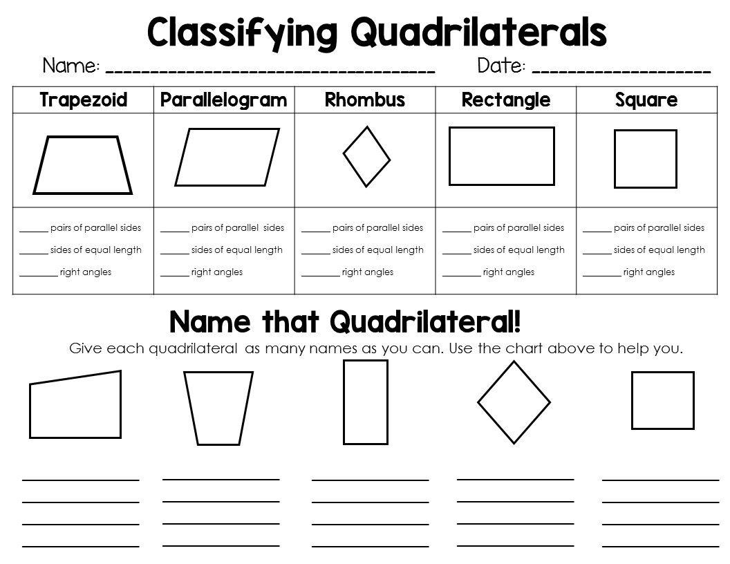 Free Math Worksheets On Quadrilaterals