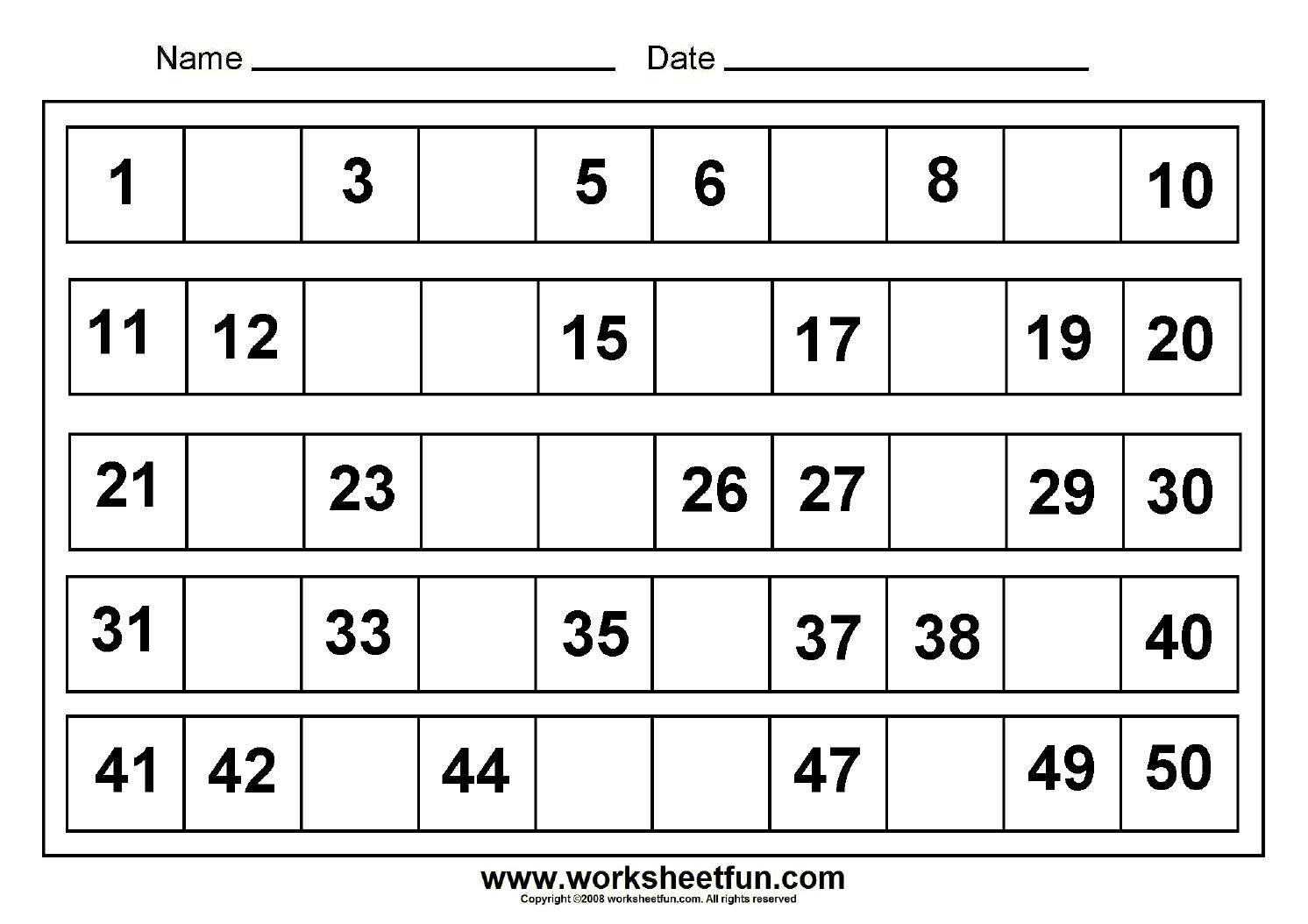 Kindergarten Math Worksheets Missing Numbers
