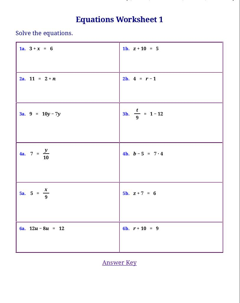 Math Worksheets For Grade 7 Linear Equations