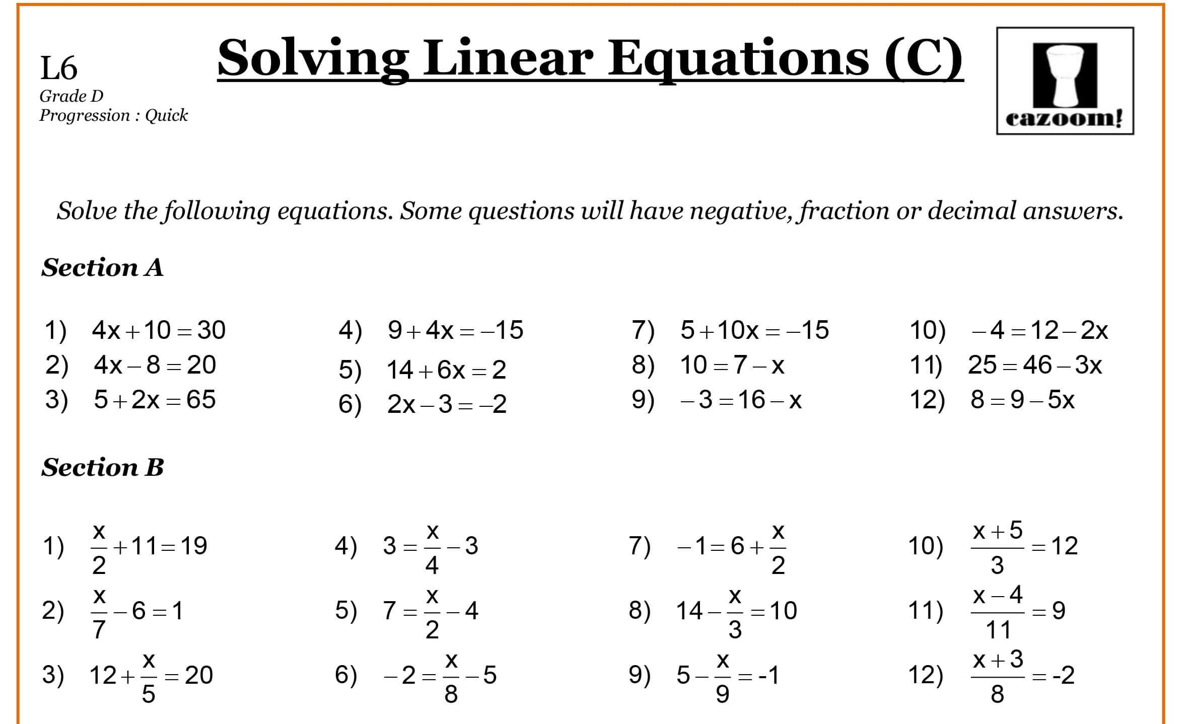 Math Worksheets Linear Equations 1