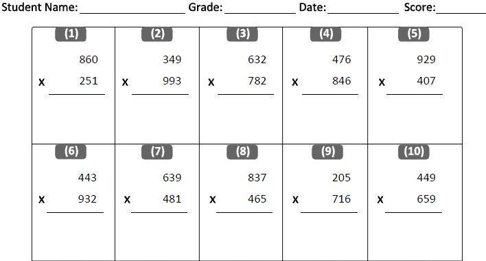 Math Worksheets Multiplication Pdf