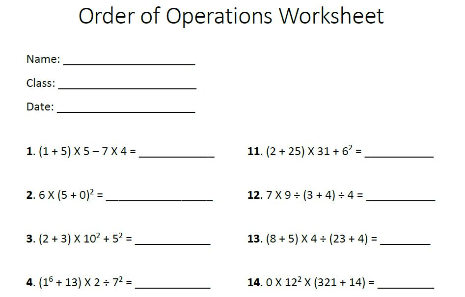 Math Worksheets Order Of Operations With Integers