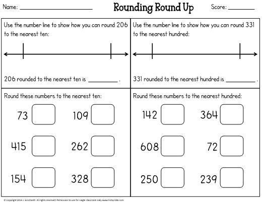 Math Worksheets Rounding Nearest Ten