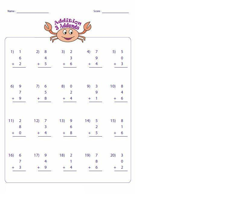 Math Worksheets Single Digit Addition 3