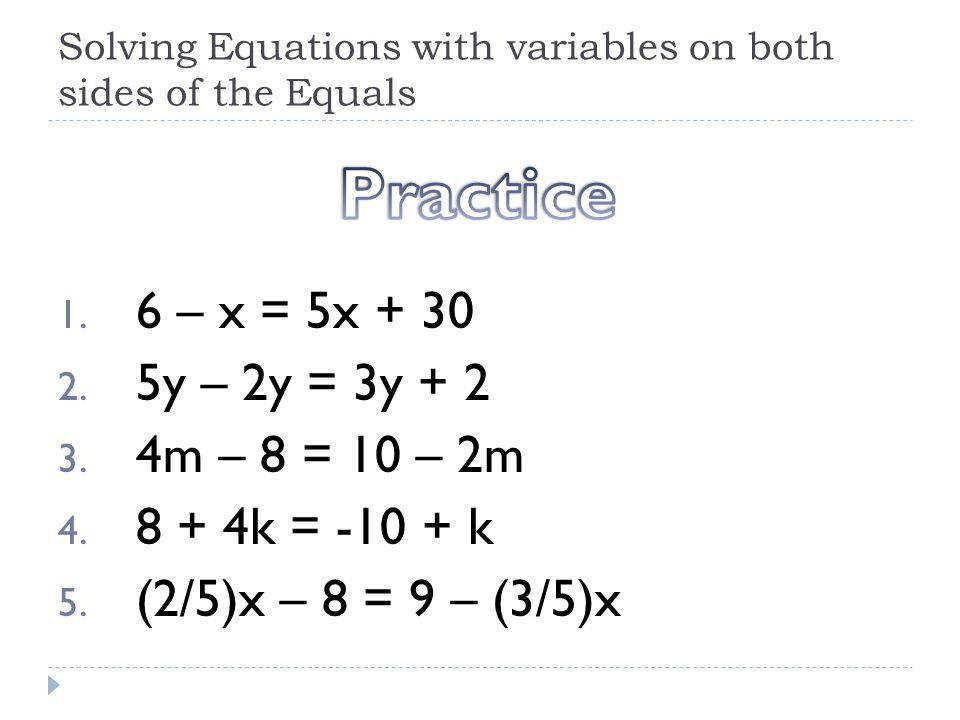 Math Worksheets Substituting Variables