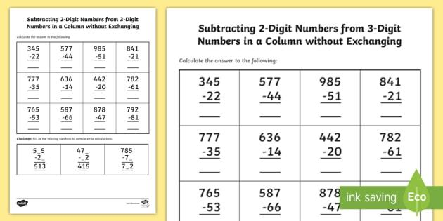 Math Worksheets Three Digit Addition And Subtraction 4