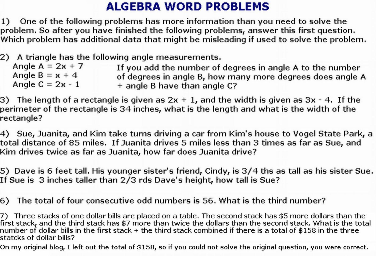 Math Worksheets Word Problems 1