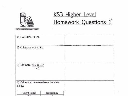 Maths Worksheets Ks3 Year 9 Free